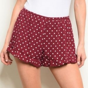 Maroon Polka Dot Flounce Shorts